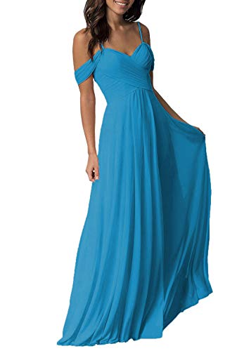 Malibu Shoulder Pack - Ocean Blue Wedding Bridesmaid Dresses Long Cold Shoulder Chiffon Formal Party Dress for Women
