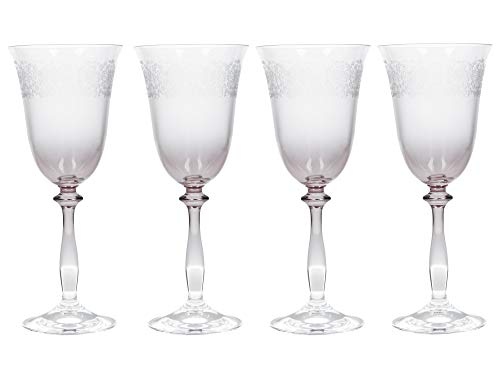 - Katie Alice The Collection Etched Wine Glasses, Glass, 250 ml, Set of 4