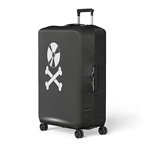 Pinbeam Luggage Cover Dvd Disc Crossbones Copyright Piracy Flat Jolly Music Travel Suitcase Cover Protector Baggage Case Fits 18-22 inches