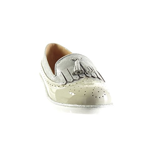 Angkorly Women's Fashion Shoes Mocassins - Slip-on - Bi Material - Fringe - Pom Pom - Perforated Wedge Platform 2.5 cm Grey MqdFQFu0V