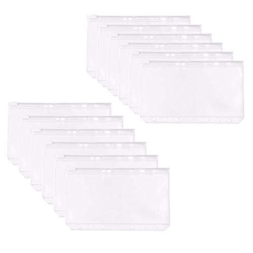 12 PCS Binder Pockets Waterproof PVC Pouch Document Filing Bags for 6-Ring Notebook Binder, A6 Size Binder Zipper Folders