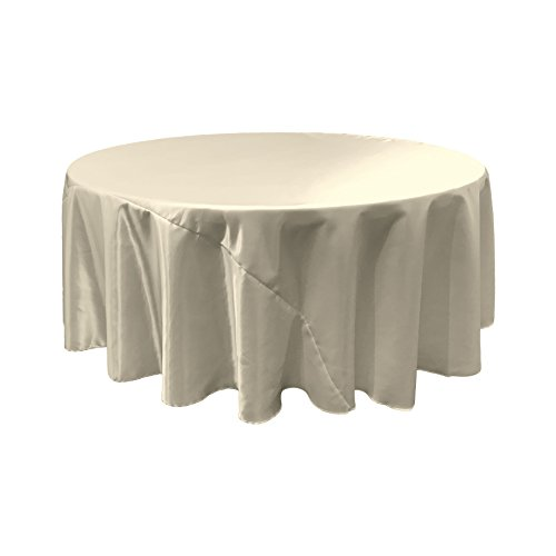 L.A. Linen Bridal Satin Round Tablecloth, 120-Inch, Ivory