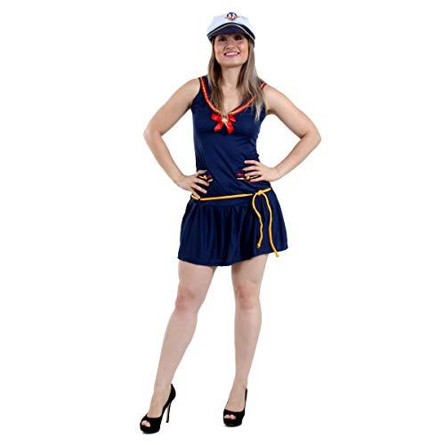 Marinheira Vestido Heat Girls Adulto Sulamericana Fantasias Azul M
