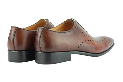 Herren Braun Leder Italian Style Oxford Lace Up Smart Formelle Kleid Casual Schuhe