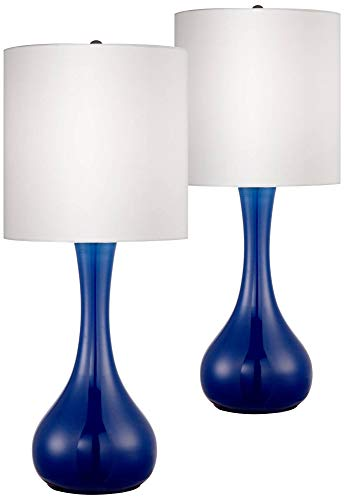 Modern Table Lamps Set of 2 Monaco Blue Glass Droplet White Cylinder Shade for Living Room Family Bedroom Bedside - Color + Plus