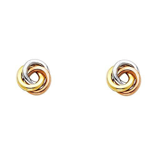 14K Solid Tri-color Gold Womens 8mm Three Circles (Circle Tri Color Earrings)