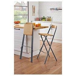Elegant Palma Oak Effect Folding Kitchen Dining Breakfast Bar Stools Chairs X 2 RRP  120