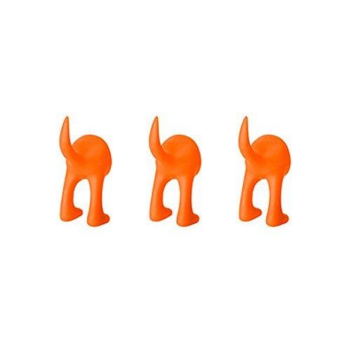 Orange Hook (Ikea Set of 3 Dog Tail Hooks Hat Coat Key Wall Mounted Hanger (Orange))