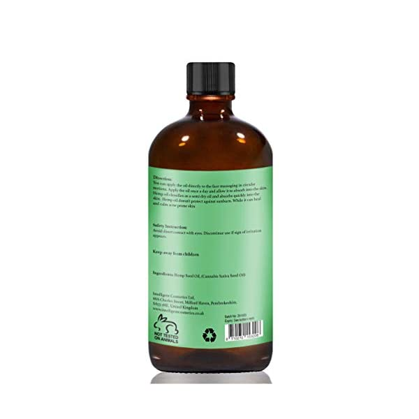 HEMP SEED OIL 100ML, 100% Cold Pressed Unrefined, Organic, Pure & Natural. Skin Care Facial Oil, Prevents Premature Ageing, Tightens & Shrinks Large Pores, Balances Oily Skin