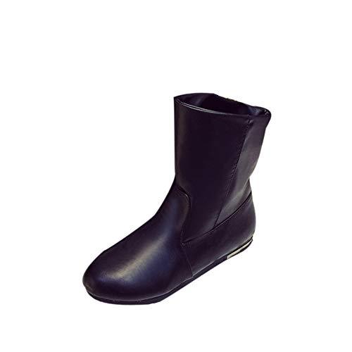 Mi Neige Talons Mode Femme Bottes Hiver Noir Moitié Chaussures ARL54j