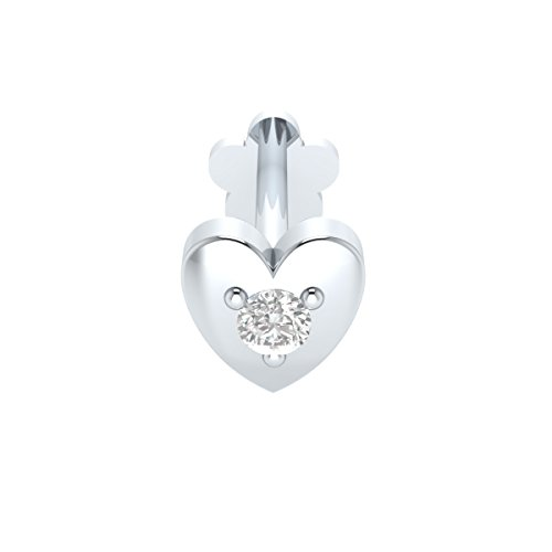 Animas Jewels DGLA Certified 14k White Gold Heart Stud Nose Pin for Women 0.02 Cttw Natural Diamond (H-I Color. I1 Clarity) Round Cut 3-Prong Setting. Available in 6 mm & 8 mm Length (8)