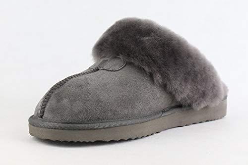 Chaud Slip Non Grande Printemps Pantoufles Gris D'intérieur Barrettes Fox Plat slip Taille Diapositives Vraiment Chaussures Nikimi Femmes Solide Fourrure De Zxz050Eqw