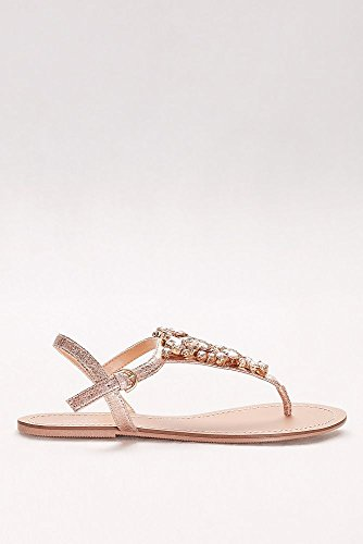 Jeweled Metallic Ankle-Strap Thong Sandals Style Rio, Rose Gold, 11W by David's Bridal (Image #2)