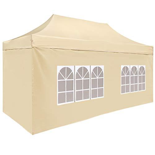 TopCamp Beige 4 Walls for 10x20 ft Pop up Canopy Carport, Heavy Duty Waterproof Outdoor Party Tent ()