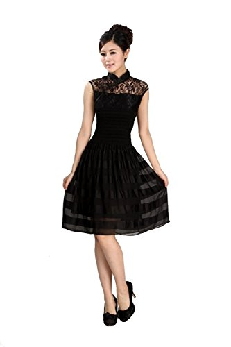 AvaCostume Women's Cut Out Qipao Style Black Mid Dress Party Cocktail Dress Size US 2/4