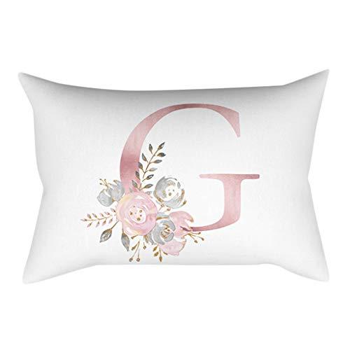 QBQCBB 30x50 cm Kinder Zimmer Dekoration Brief Kissen Englisch Alphabet Pillowcases(G)