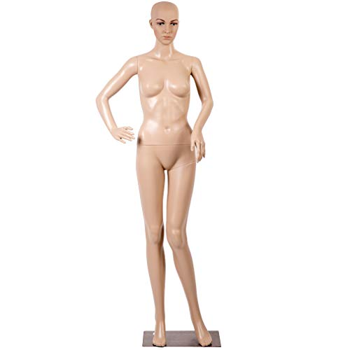 (Mannequin Manikin Dress Form Female Full Body 69 Inch Adjustable Mannequin Stand Realistic Mannequin Display Head Turns Dress Model W/Metal Base)