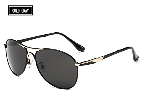 Gafas polarizadas Vintage HD Gafas Sol Hombres de Marrones de Oro Gafas gray Tonos Sunglasses Fría Lentes TL Macho gold wPgzpqI1yc