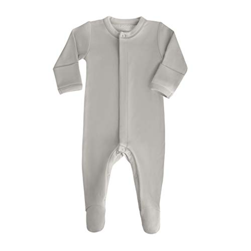 bonamy Baby Unisex Organic Cotton Footie Sleeper with Mittens-Sleep 'N Play for Boys and Girls with Long Sleeves in Neutral Color Oatmeal
