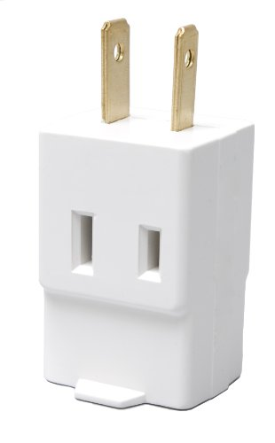 mp 2-Pole 2-Wire 125-Volt Single Receptacle to Three Outlet Cube Tap, White (Cooper Outlet Box)