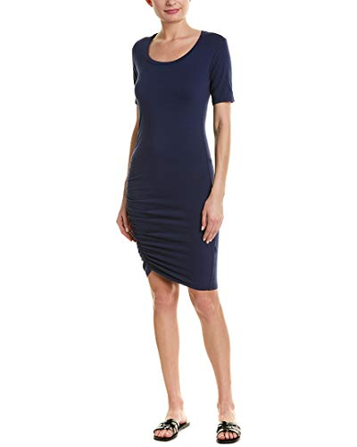 Michael Stars Women's Cotton Lycra¿ Elbow Sleeve Scoop Neck Dress Passport X-Small