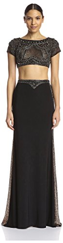 Top Women's Piece Gown Two Black Couture with Terani Beaded fF1qwSTFK