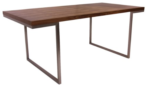 Moe's Home Collection 70 by 35-Inch Repetir Walnut Veneer Dining Table - Repetir Dining Table with a walnut veneer MDF top Polished stainless steel base Table is 70.9 inches long x 35.4 inches wide x 29.5 inches tall - kitchen-dining-room-furniture, kitchen-dining-room, kitchen-dining-room-tables - 31pwmwnbHNL -
