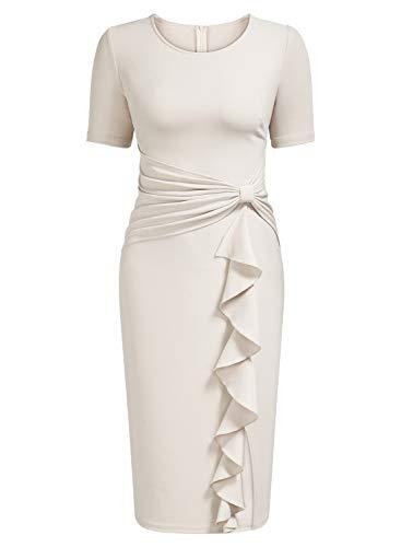 AISIZE Women's 50s Vintage Ruffle Draped Short Sleeve Bodycon Cocktail Knee Dress Beige