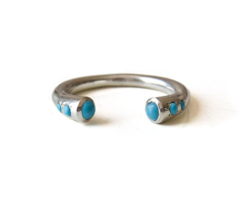 Turquoise stones Ring, Sterling Silver or 14K Gold Filled Open Cuff Ring, Stackable Boho ring, Available sizes US 4- US 9.5, Unique Alternative April birthstone ring by LOVE NAOMI Design - Costumes Celebrity Simple