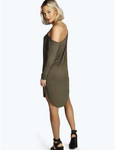 PU&PU Robe Aux femmes Ample Vintage,Couleur Pleine Col Arrondi Au dessus du genou Polyester , black-m , black-m