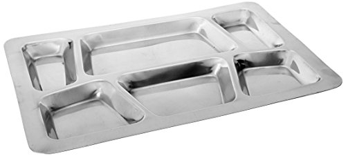 Winco 6-Compartment Mess Tray, Style B Food Compartment Trays