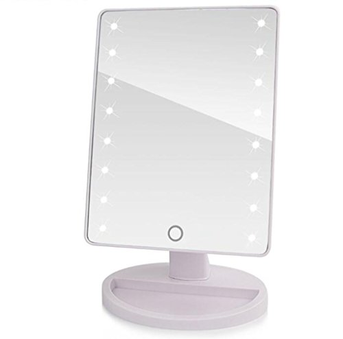 16 LED Lighted Makeup Mirror with Lights and Tray 180 Degree Free Rotation Touch Screen (Circle Mirror Tray)