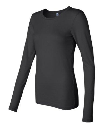 Bella Canvas Ladies' Sheer Mini Rib Long-Sleeve T-Shirt - BLACK - XL
