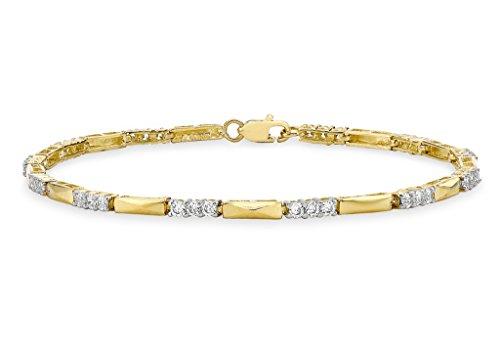 """Barre en or jaune 9carats et pierre transparente Link Bracelet 19cm/7,5"""""""