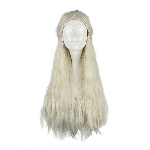 COSPLAZA Women Long Natural Wave Light Blonde Beige Anime Cosplay Costume Synthetic Wig with Braids ()
