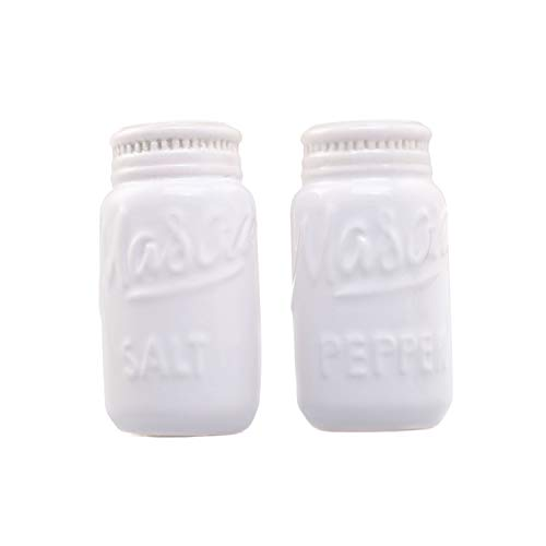 White Mason Jar Salt and Pepper Shakers - Kitchen Ceramic Shaker Bottle - Retro Farmhouse Decor - Kitchen Accessories Home Decor - Rustic Home Accessory and Gifts - Set of 2 by Goodscious