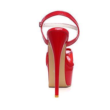 LvYuan Mujer-Tacón Stiletto-Confort Tira en el Tobillo-Sandalias-Boda Vestido Fiesta y Noche-Tul PU-Negro Rojo Blanco White