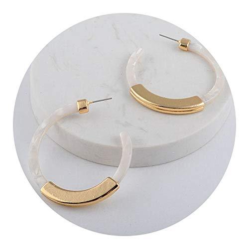 Fashion Bohemia Acrylic Acetate Hoop Earrings for Women Vintage Leopard Print Circle Hoops Alloy Earring za jewelry Female 2018,White ()