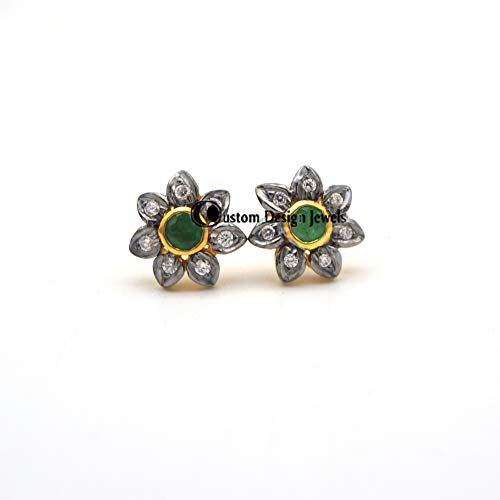 Emerald Gemstone 14k Gold Pave Diamond Connector Sterling Silver Finding Jewelry