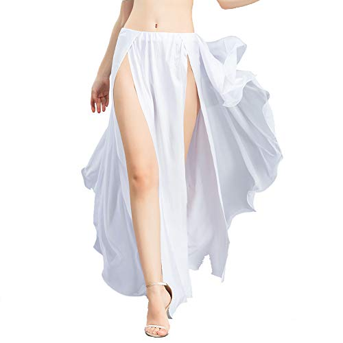 ROYAL SMEELA Women Belly Dance Costume Chiffon Belly Dance Skirts White, One Size, Dance Dress, 6 Colors