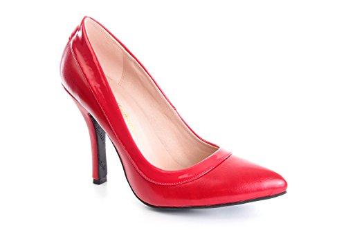 Andres Machado.AM592.Zapatos Salon combinado Soft y Charol SoftRojo