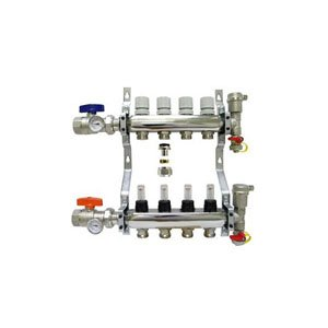 4-branch Radiant Heat Manifold Package for 1/2'' PEX Tubing