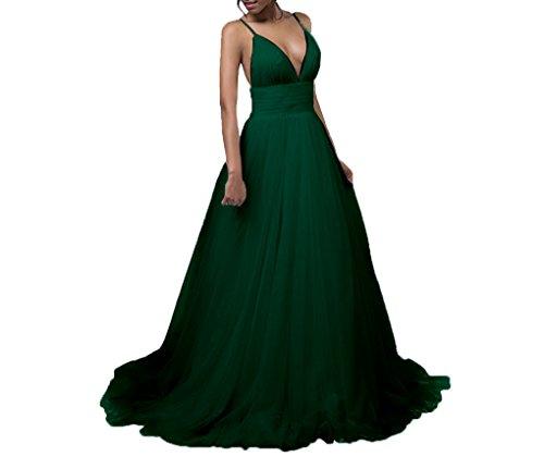 Amore Mariée Sexy Robe De Bal Tull Robe De Demoiselle D'honneur De Mariage Profond Col V Vert