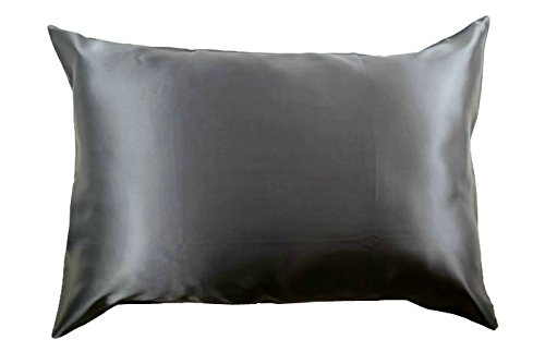 100% Silk Pillowcase for Hair Zippered Luxury 25 Momme Mulberry Silk Charmeuse Silk on Both Sides of Cover -Gift Wrapped Queen, Charcoal Gray