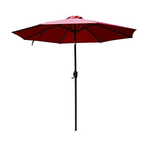 Outsunny 9' Solar Multi-Color LED Market Patio Umbrella - Wi