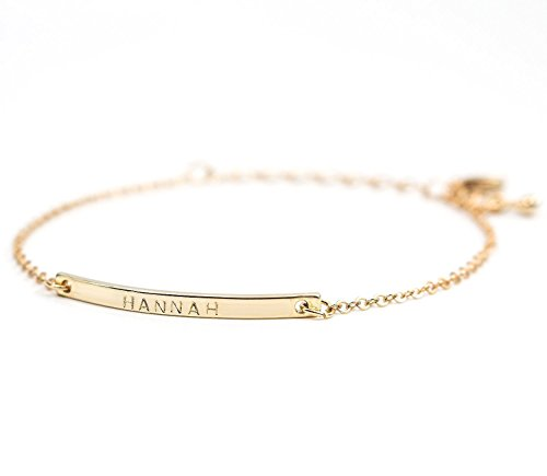 [Personalized 16K Gold Your Name Bar Bracelet - Personalized Gold Plated bar Delicate Bridesmaid Hand Stamp bridesmaid Wedding Graduation Birthday Anniversary Vacation] (Custom Costumes Jewelry Wholesale)