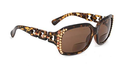 - Cocoa, Bifocal Sunglasses,Sun Readers Women Bling with Light Colorado and Cooper Swarovski Crystals +1.25, 1.50, 1.75 +2.00, 2.25, 2.50, 2.75, 3.00 Tortoise Brown Frame.