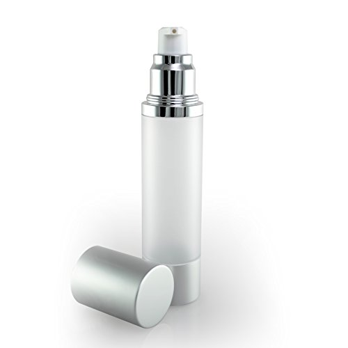 Luxe Empty Airless Pump Bottle with Lid for Homemade Beauty Products, Lotion and Serum (50 ML, Frosted Bottle with Matte Silver)