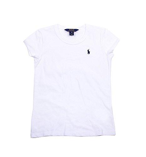 Polo Ralph Lauren Girls Crewneck T-Shirt (12-14, White) (White Polo Tshirt Girl)