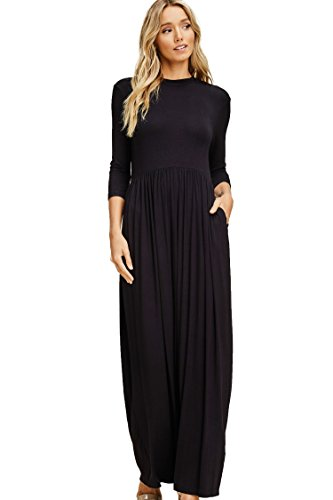 (Annabelle Women's Quarter Sleeve Round Neck Pleated Full Length Solid Print Plus Size Dress with Side Slanted Pockets Black X-Large D5185PK)